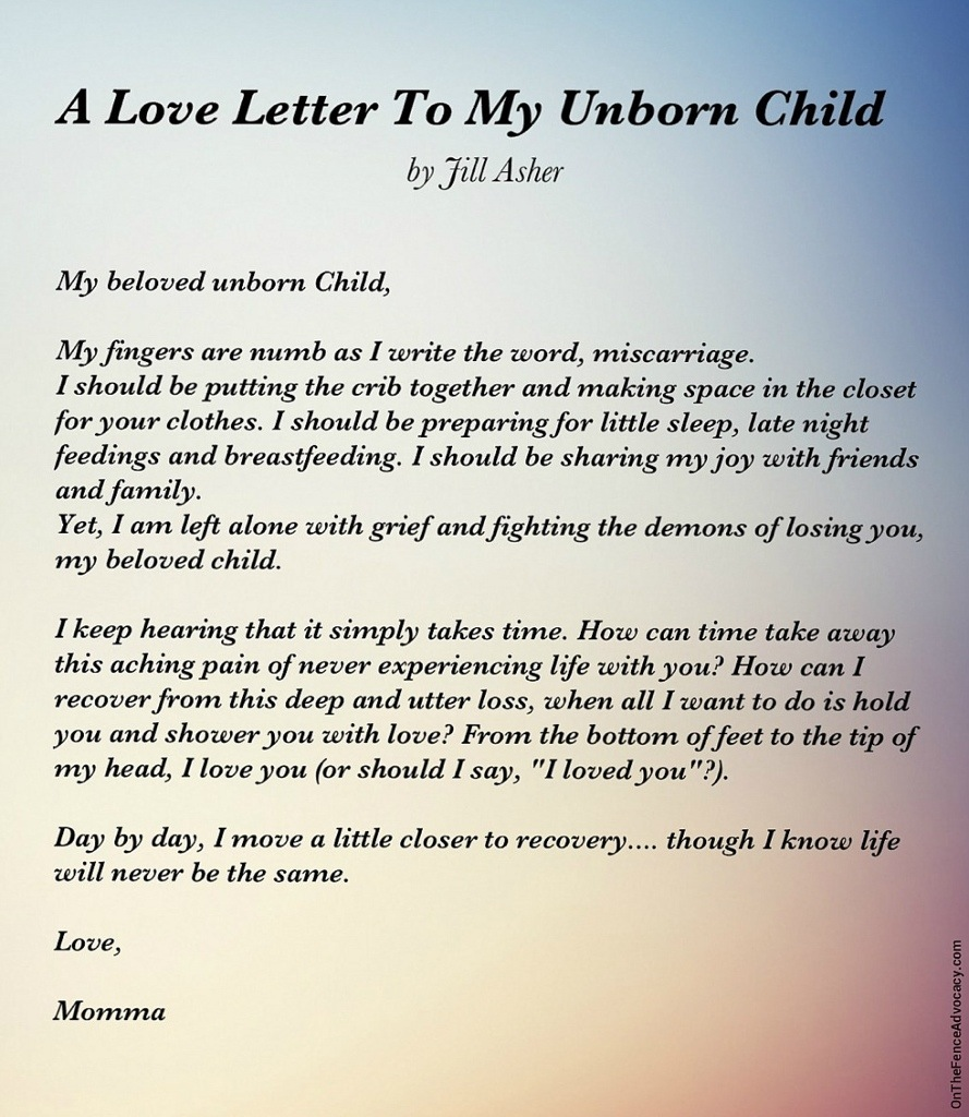 Letter To An Unborn Child On The Fence